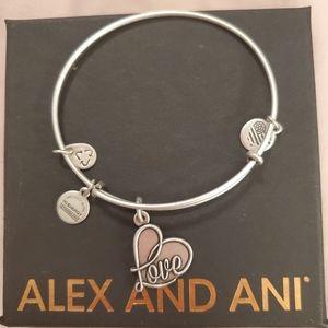 Alex and Ani Love Bracelet, silver